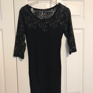 Black & Gold Lace body con dress